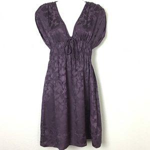Anthropologie Silk Purple Burnout Floral Dress